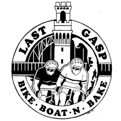 Last Gasp Logo - bicyclists riding in front of Cape Cod's Pilgrim Monument